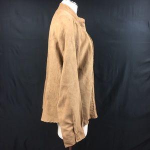 Vintage Tops - Vintage Ms. Lee Tan Faux Suede Button Down Shirt